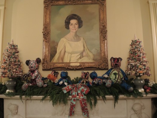 There are lots of mantels in the White House to decorate and this is one of the most charming interpretations with patchwork teddy bears