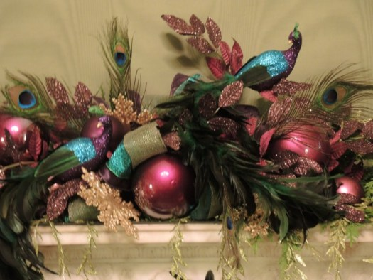 Close up of the mantel's peacocks