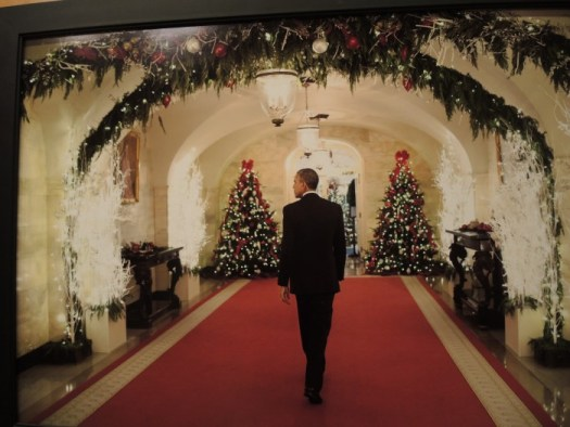 I took this photo of a framed picture of Obama entering the central hall of a past Christmas