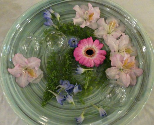 Gerber, Rhododendron, Asparagus Fern, with glass balls