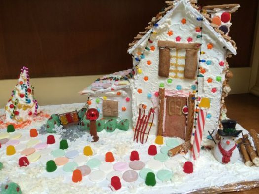 Gingerbread house with gum drop garden