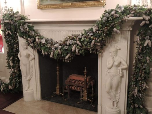 A mantel of silver pine cones at the White House