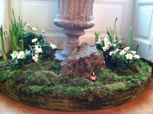 I help create these gardens in the East Room that had moss, hellebores, and boulders