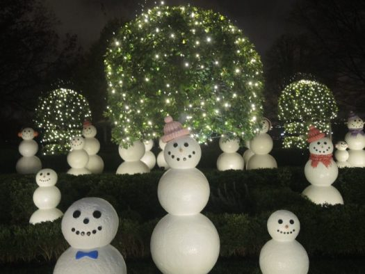Snowmen that were placed in the Kennedy Garden outside are inside this year