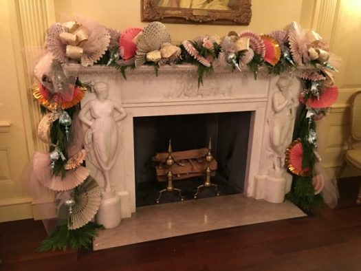 A mantel decorated by Mandy Barker in the Vermeil Room