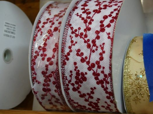 "I call this ""Winterberry"" ribbon. I love the red and white contrast."