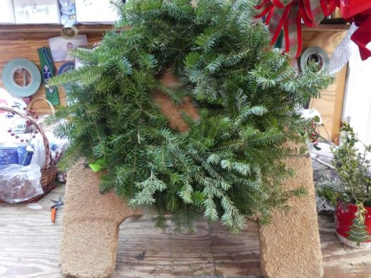 Wreath stand with Balsam Fir base ready to be decorated