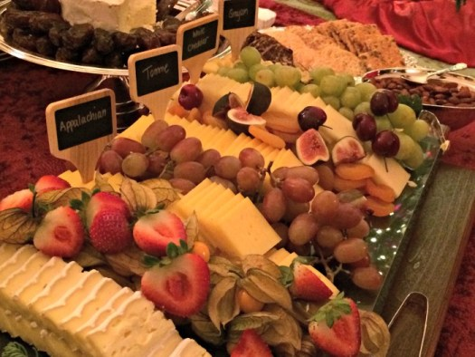 Cheese tray at reception in 2015