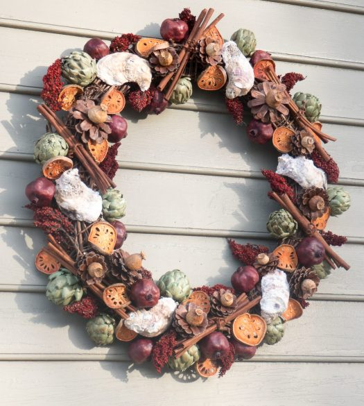 Oyster shells play the starring role in this wreath