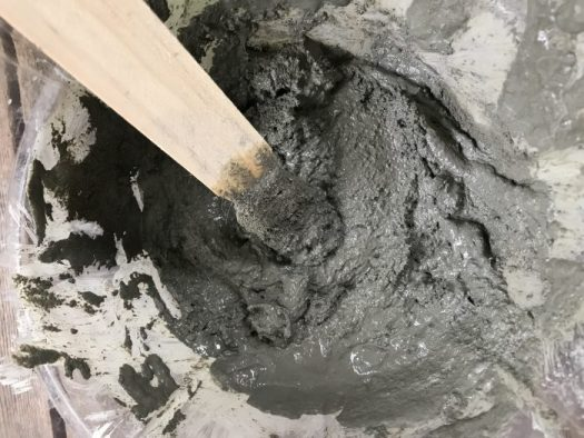 I mixed the shapecrete in a disposal container with a paint stirrer