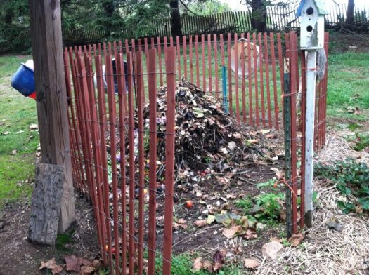 My snow fence compost pile with gate