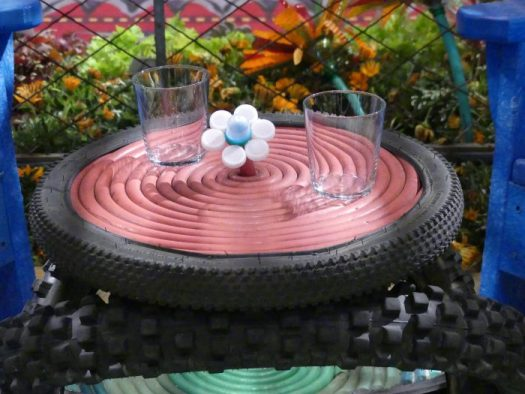 Upcycled table made with an old tire