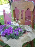 Chair with spring violas