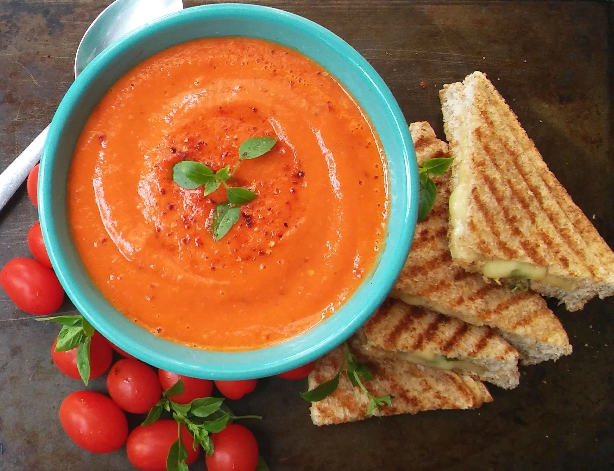 Spiced Tomato Soup with Grilled smoked Mozzarella and Basil Sandwiches