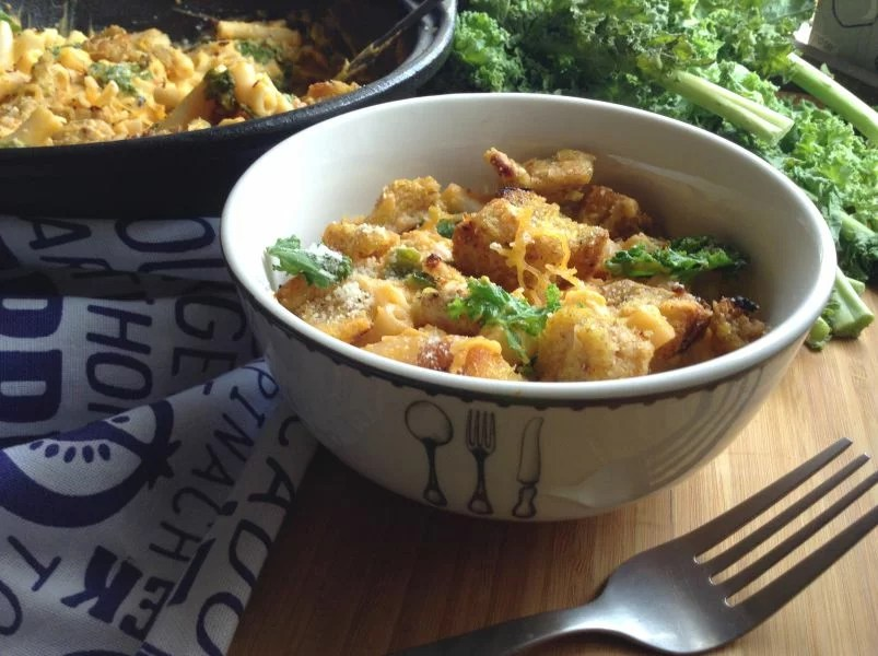 Spicy Butternut Mac and Cheese with Garlic Croutons