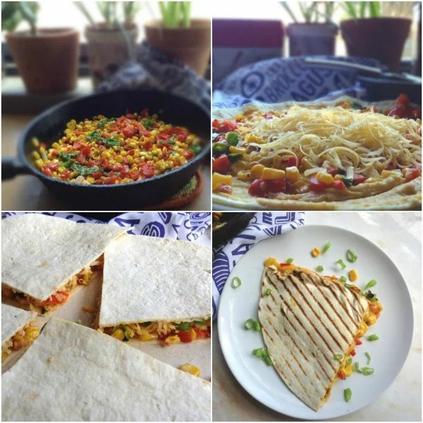 Grilled Cheese, Corn and Sweet Pepper Quesadilla