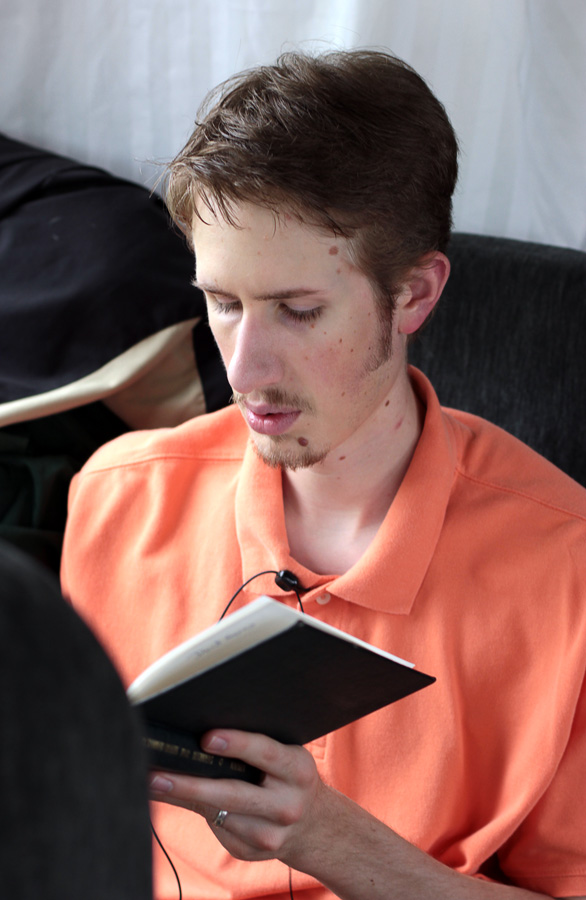 Ben studying his Bible.