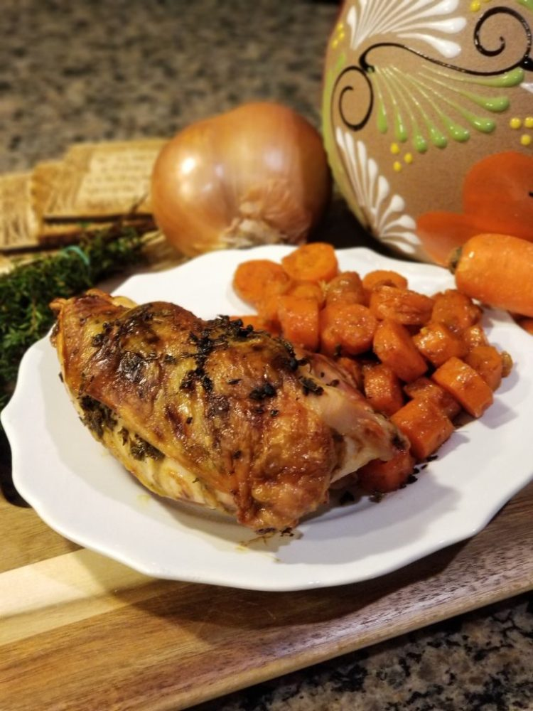Paleo AIP baked bone-in chicken breasts with Paleo AIP Vegeterian Honey Ginger Glazed Carrots