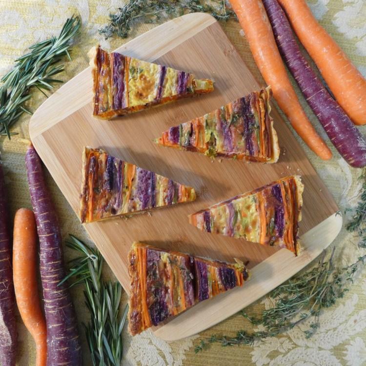 Tri Color Vegetarian Carrot Tart - top view