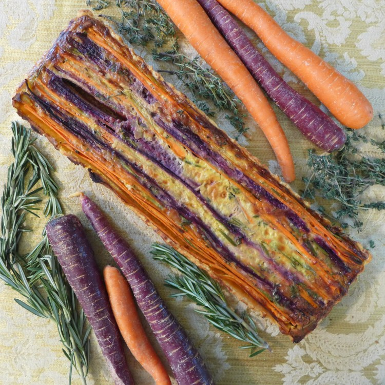 Tri Color Vegetarian Carrot Tart - uncut