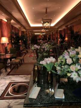 The hallway leading to the bar, Ducasse restaurant and restaurant bar is lined with flowers