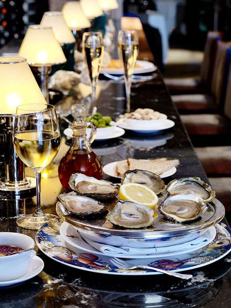 The bar, where customers can sit and enjoy the finest oysters