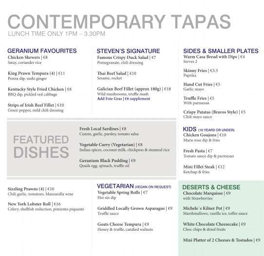Contemporary tapas menu