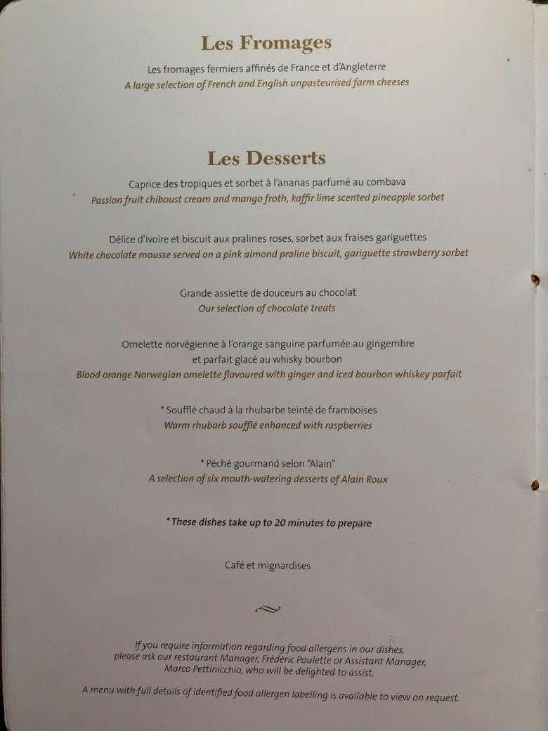 Cheese and dessert menus