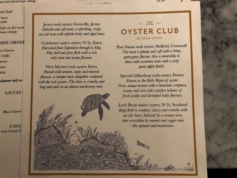 The front of the extensive oyster menu