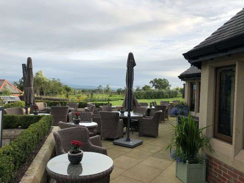 The patio, on a very grey morning