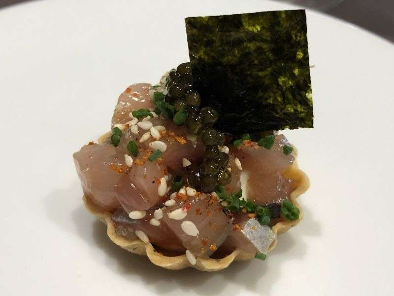 A cured mackerel tartlet with a crème fraiche sauce. This delicate tartlet is usually made with Lindisfarne Oyster, but mackerel was substituted due to an allergy
