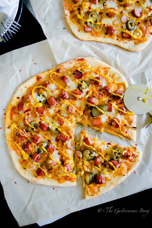 Easy-Peasy Hotdog Pizza with Caramelised onion and Jalapenos9