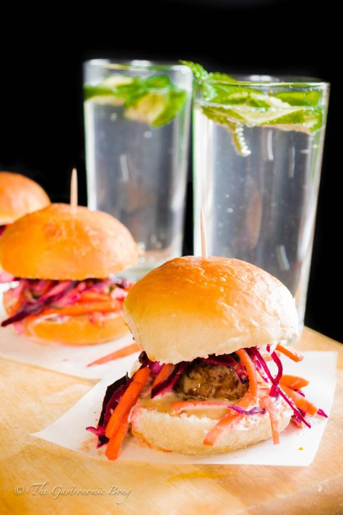 Oriental Meatballs Slider with Kimchi Slaw and Hoisin Mayonnaise