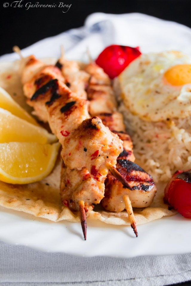 Persian Joojeh {Chicken} Kebab on a bed of Chelo, Fried Egg and Salad Shiraza2