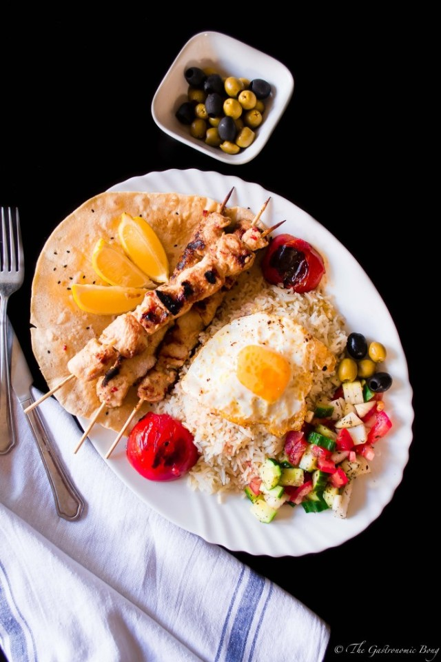Persian Joojeh {Chicken} Kebab on a bed of Chelo, Fried Egg and Salad Shiraza4
