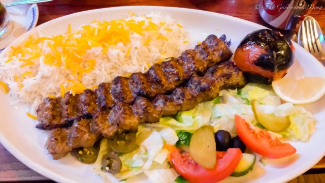 Persian Joojeh {Chicken} Kebab on a bed of Chelo, Fried Egg and Salad Shiraza7