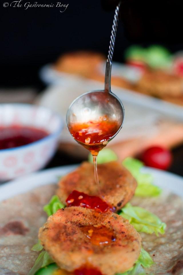 Sweet Chilli Crispy Chickpea Patty Wrap5