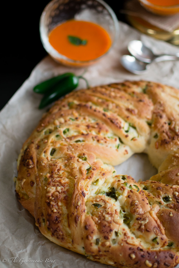 Jalapenos and Sharp Cheddar Bread Wreath