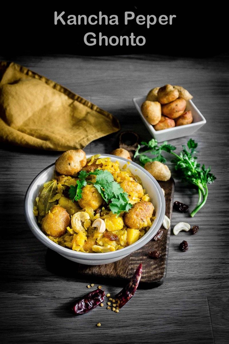 Kacha Peper Ghonto/ Raw Papaya Sabzi/Grated papaya curry/ Niramish peper chenchki