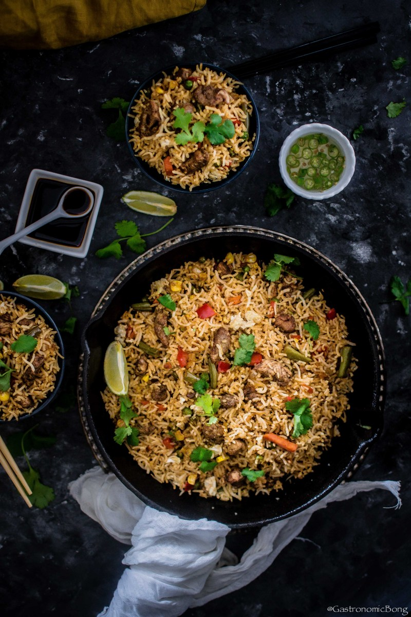 Chinese Chicken Fried Rice with Sriracha and Chinese five spice