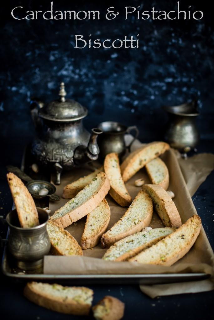 Pistachio and Cardamom Biscotti (Ilaichi pista cookies)
