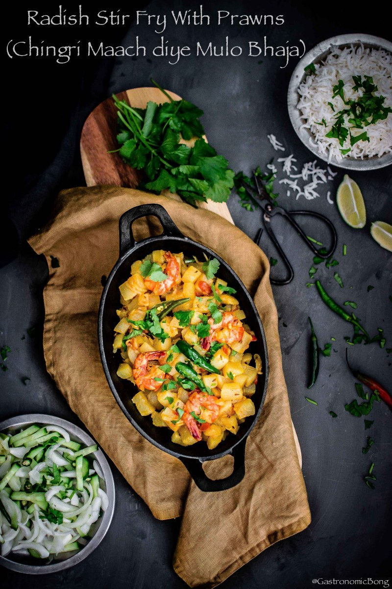Radish Stir Fry With Prawns (Chingri Maach diye Mulo Bhaja)