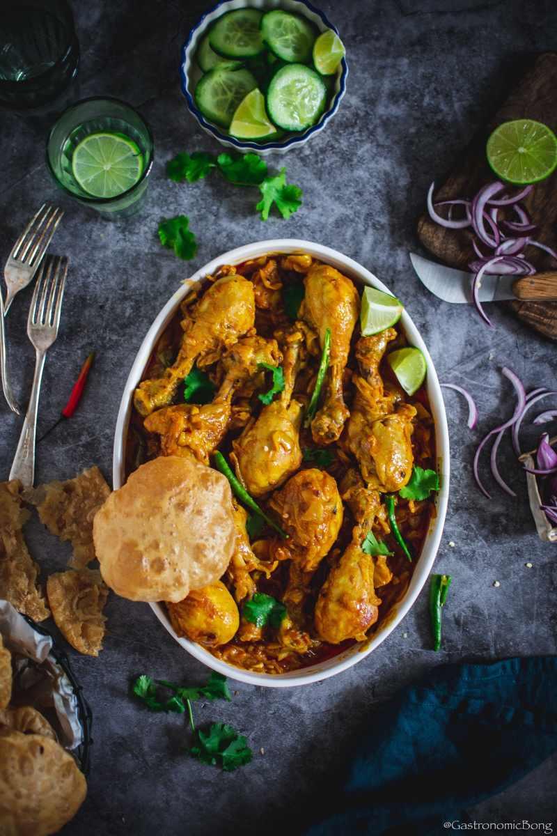 Chicken kosha and luchi