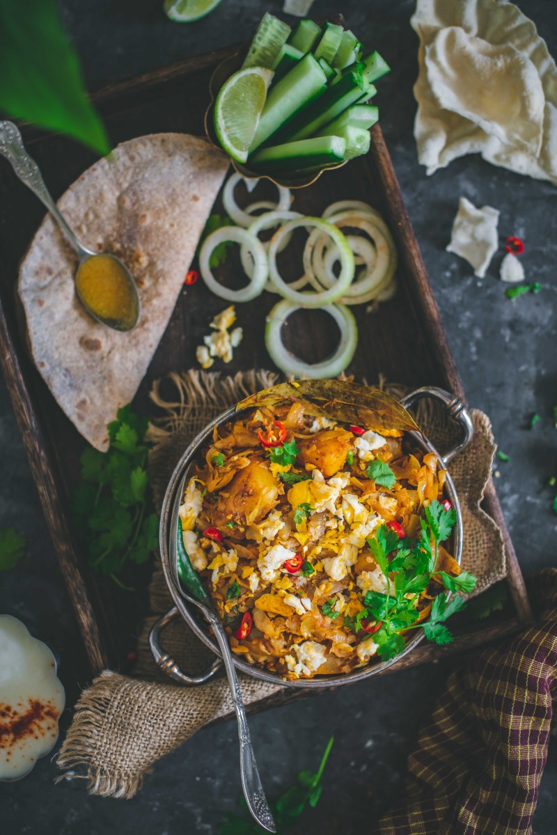 Bengali Cabbage Curry with egg