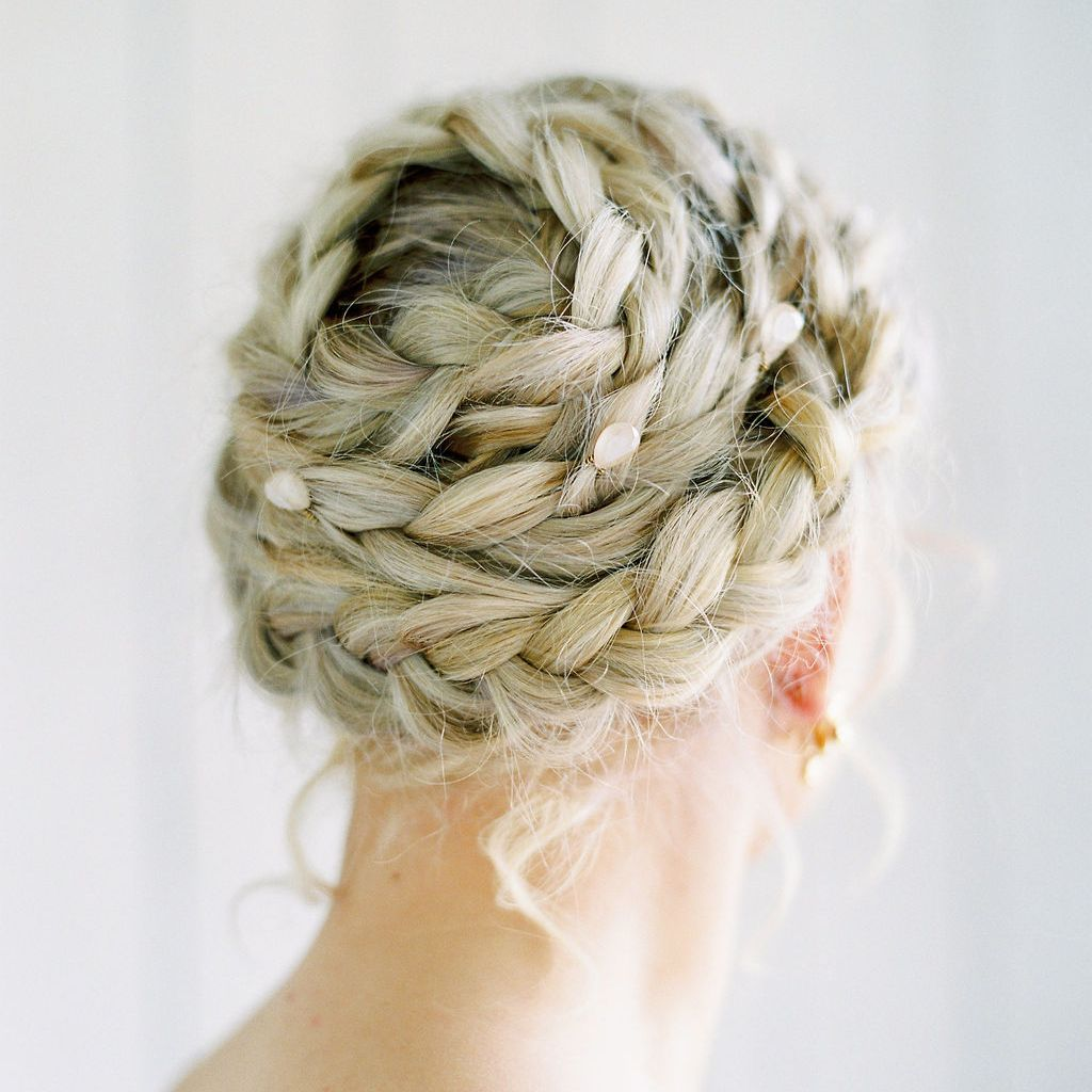 bridal hair styles braided crowns with pearls