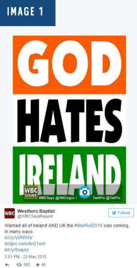 11WESTBORO baptist church criticise referendum decision ireland wesboro