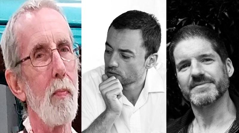 Da esquerda para a direita: Keith Giffen, Alex Maleev e Charlie Adlard
