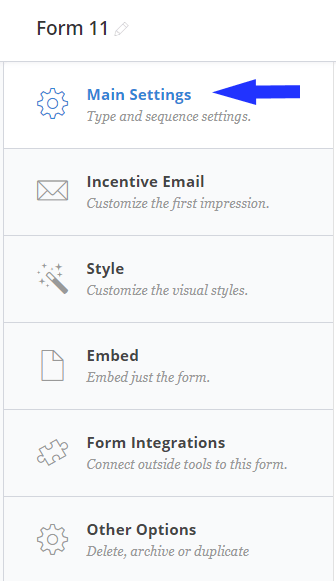 convertkit email form settings