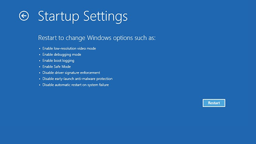 windows 10 startup settings