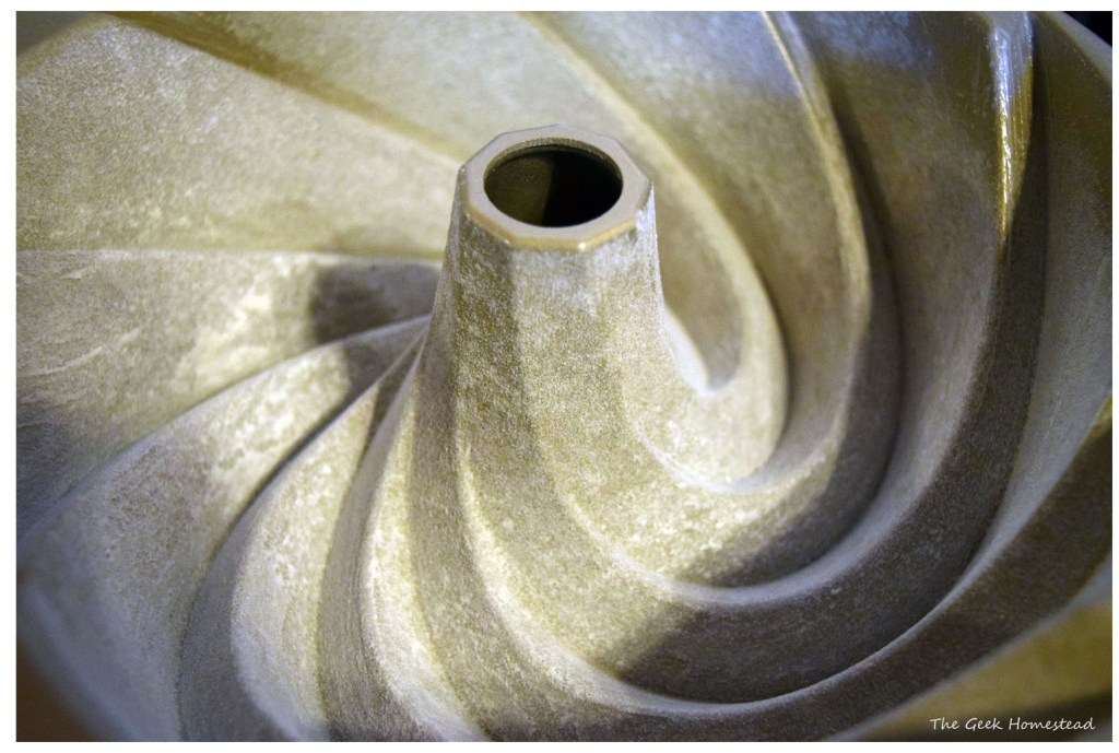 Floured bundt pan after tapping